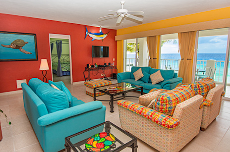 Las brisas living room has ocean views