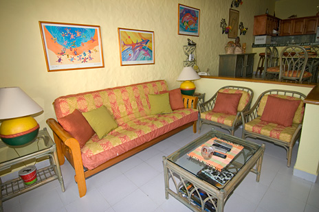 Another view of Cantamar 201 living area at this vacation rental condo on the island of Cozumel