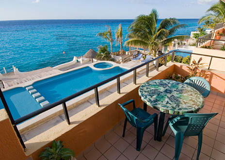 Patio of Cantamar 201 2 bedroom Cozumel vacation rental villa