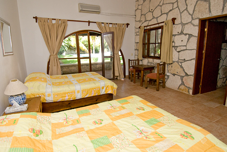 Bedroom #4 at Villa Caracol has 2 double beds