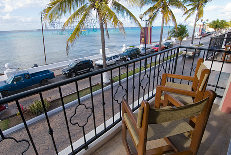 View from the balcony to the south at Guido's 1 BR vacation rental condo on the island of Cozumel Mexico