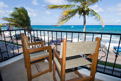 View from the balcony to the north at Guido's 1 BR vacation rental condo on the island of Cozumel Mexico