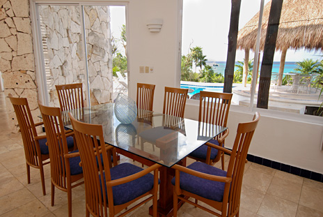 dining room of Iguanas Sur 5 BR Cozumel vacation rental villa