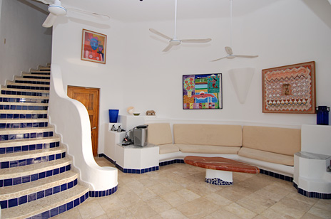 living room of Iguanas Sur 5 BR Cozumel vacation rental villa