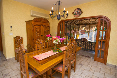 Dining area of Hacienda Izamal Cozumel vacation rental home