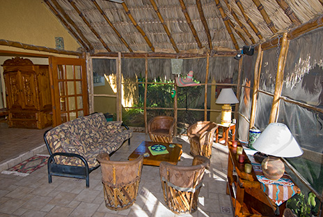 Hacienda Izamal vacation rental villa has a huge palapa in the garden