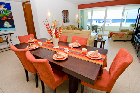 Dining room of Nah Ha 201 oceanfront Cozumel vacation rental home