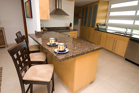 Lunch counter of Nah Ha 702 3 BR vacation rental condo on the isle of Cozumel Mexico