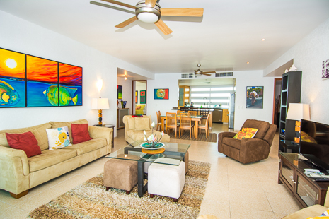 Another view of the Living area of Nah Ha 702 3 BR Cozumel vacation rental condominium