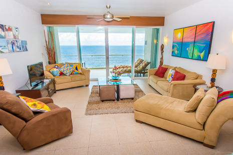 Living area of Nah Ha 702 3 BR Cozumel vacation rental condo