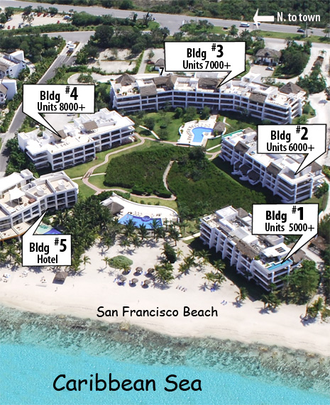 Map of Residencias Reef Cozumel Vacation Rental Condos