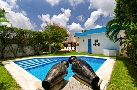 Pool view Quetzal Cozumel vacation rental home