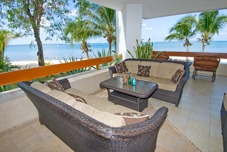 Large wrap around patio with super ocean views at Residencias Reef 5100 Cozumel vacation rental condo