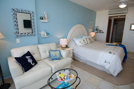 There is also a sleep sofa in Residencias Reef 5110 studio at Cozumel vacation rental condo