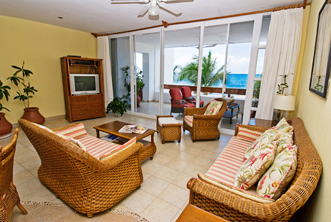 Living room of Residencias Reef 5220 2 BR Cozumel Vacation Rental Condo