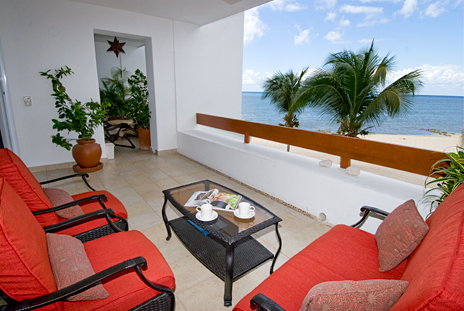 Oceanfront patio of Residencias Reef 5220 2 BR Cozumel Vacation Rental Condo