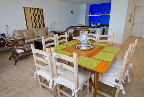 Dining room with living room in background  at RR 5320 at Residencias Reef Cozumel