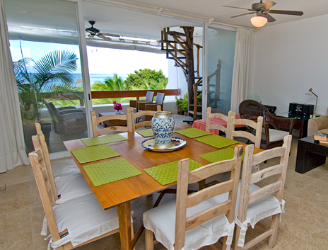 Dining room has ocean viws at RR 5320 at Residencias Reef Cozumel