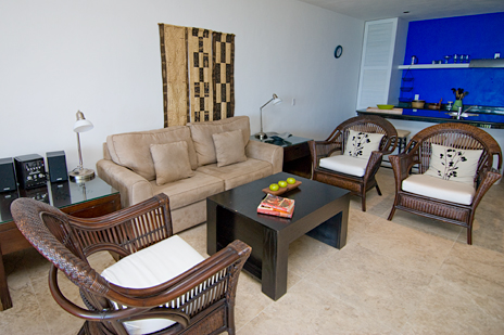 Living room at RR 5320 at Residencias Reef Cozumel