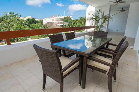 Large wrap-around patio area of Residencias Reef 7200 4 BR Cozumel vacation rental condo
