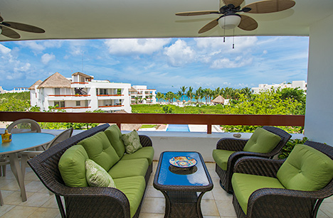 Patio of Residencias Reef 7330; there is also a second level solarium at this Cozumel vacation rental condo