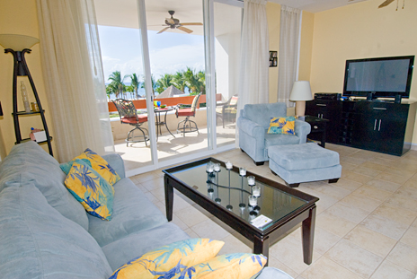 Living room of RR 8310 at Residencias Reef condo in Cozumel