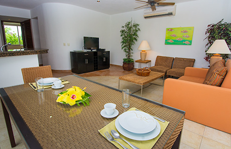 Dining and living area of RR 8380 Cozumel vacation rental condo