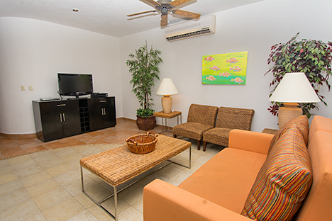 Living area of Residencias Reef 8380 Cozumel vacation rental villa