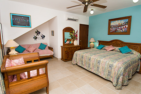 Bedroom of Casa Topaz vacation villas in Cozumel, Mexico