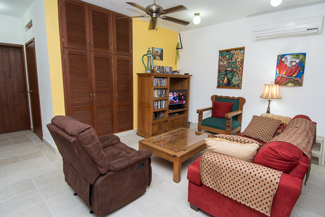 Living room of Casa Topaz vacation villas in Cozumel, Mexico