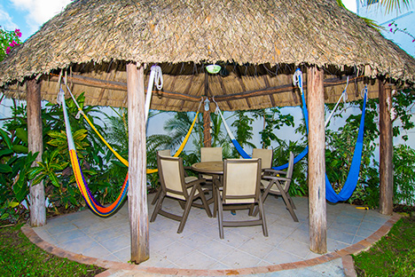 Palapa with hammocks at Topaz Cozumel vacation rental