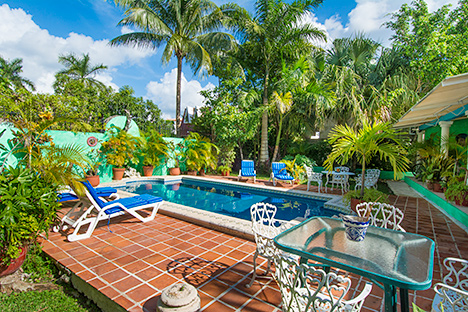 Another poolside view of Tres Palmas vacation rental home in Cozumel
